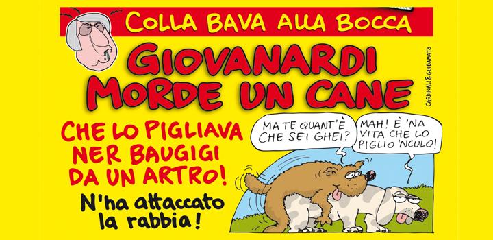 GIOVANARDI MORDE UN CANE <br/>CHE LO PIGLIAVA <br/>NER BAUGUIGI DA UN ARTRO