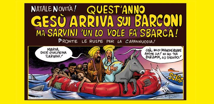 GESÙ ARRIVA  <br/>SUI BARCONI <br/>ma Sarvini 'un lo vole <br/>fa' sbarcà!